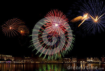 Fireworks above Binnenalster lake at Hamburg