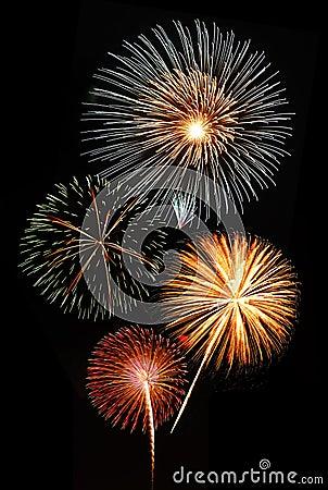 Fireworks against black sky