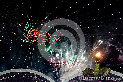Fireworks on Arirang Mass Games in North Korea Editorial Stock Photo