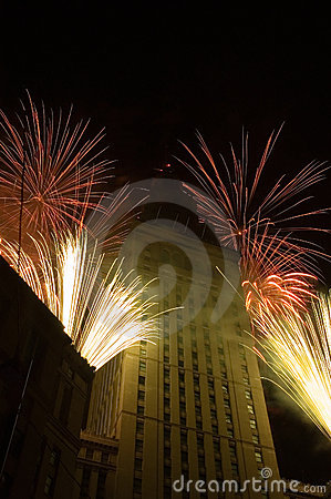 Fireworks around a tall building