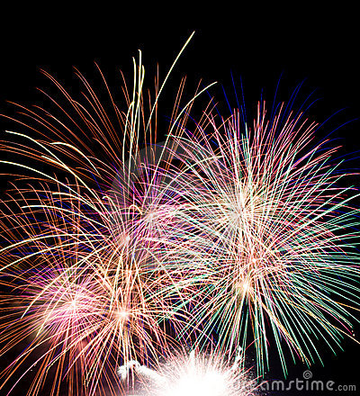 fireworks blasts on black sky
