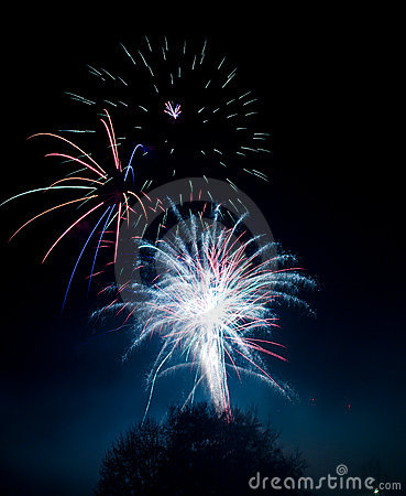 Fireworks blasts on black sky