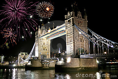 Fireworks celebration over tower bridge
