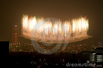 Fireworks of the Closing ceremony Editorial Stock Photo