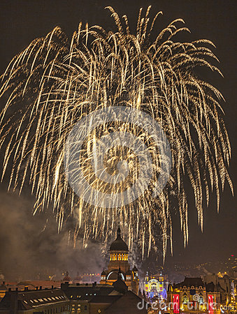 Fireworks in Cluj Napoca Editorial Photography