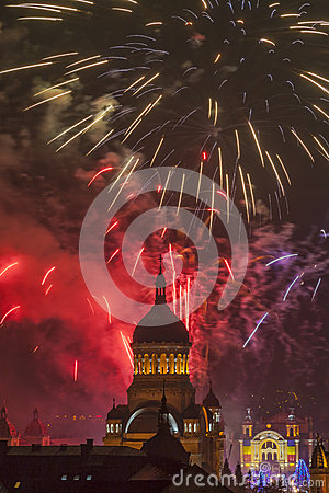 Fireworks in Cluj Napoca Editorial Stock Photo