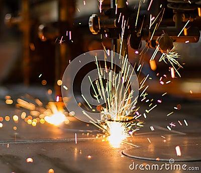 Fireworks of CNC LPG gas cutting