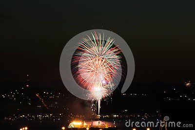 Fireworks on Commencement Bay. Stock Photo