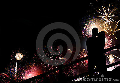 Fireworks Couple Silhouette