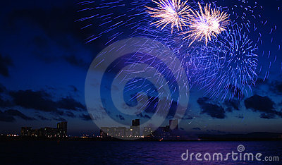 Fireworks in the Dark Blue Sky