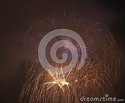 Fireworks in darken sky