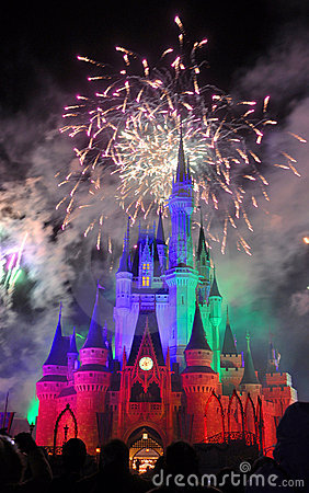 Fireworks at Disney Cinderella Castle Editorial Photo
