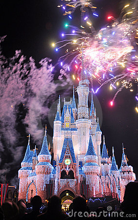 Fireworks at Disney Cinderella Castle Editorial Photography