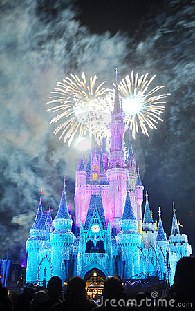 Fireworks at Disney Cinderella Castle Editorial Stock Photo