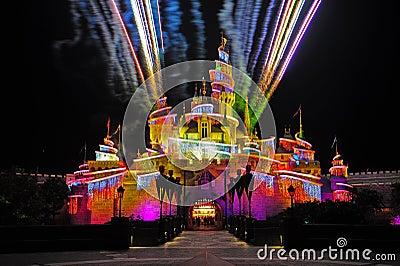 Fireworks at disneyland hong kong Editorial Stock Photo