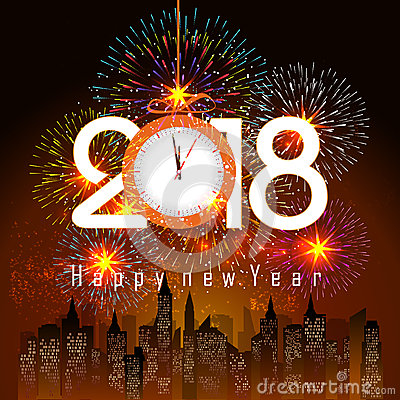 Free Fireworks Display For Happy New Year 2018 Above The City With Clock Stock Photo - 87843180