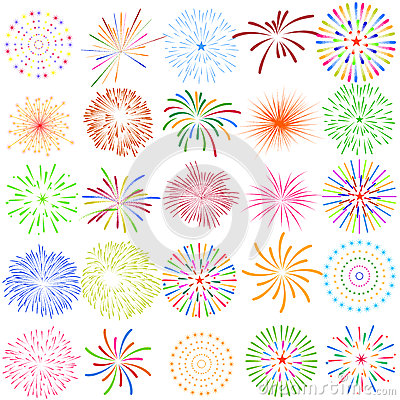 Free Fireworks Display For New Year And All Celebration Vector Illustration Royalty Free Stock Photo - 59005655