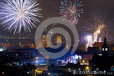 Fireworks display in Gdansk, Poland
