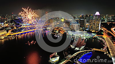 Fireworks display at Marina Bay during NDP 2012 Editorial Image