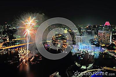 Fireworks display at Marina Bay during NDP 2012 Editorial Image