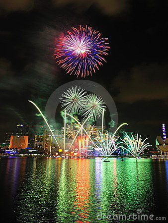 Fireworks display during National Day Parade 2011 Editorial Image