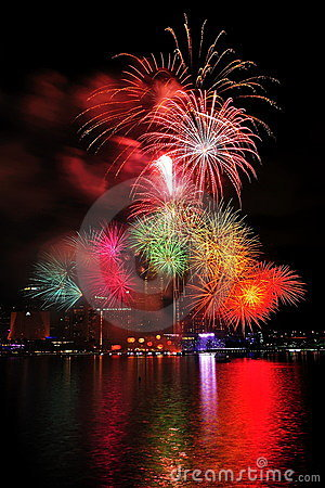 Fireworks display during National Day Parade 2011 Editorial Stock Photo