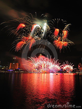Fireworks display during National Day Parade 2011 Editorial Photo