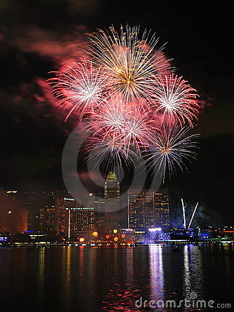 Fireworks display during National Day Parade 2011 Editorial Stock Image