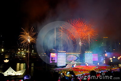 Fireworks display during NDP 2009 Editorial Image