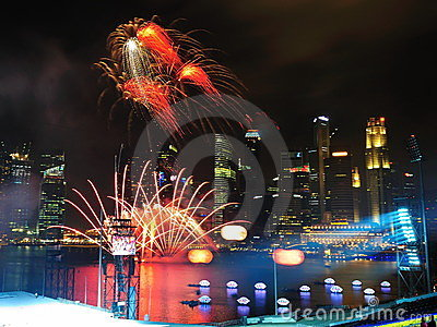 Fireworks display during NDP 2011 Editorial Photo