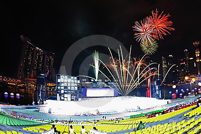 Fireworks display during NDP 2011 Editorial Image
