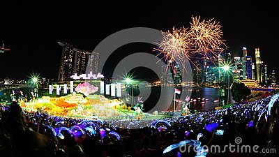 Fireworks display during NDP 2012 Editorial Stock Image
