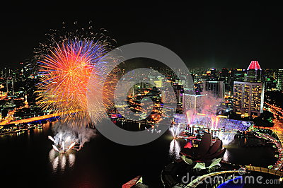 Fireworks display during Singapore National Day Editorial Stock Photo