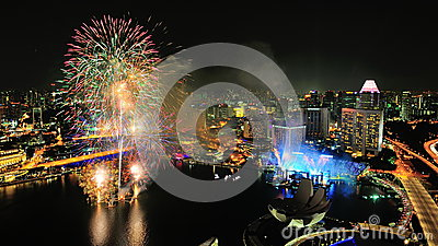 Fireworks display during Singapore National Day Editorial Stock Image