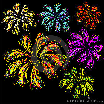 Fireworks display. Vector illustration