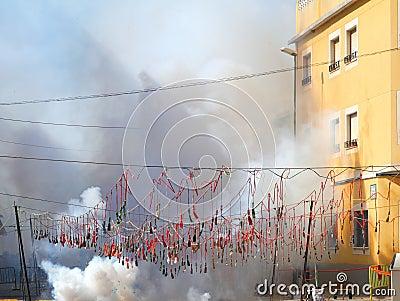 Fireworks firecrackers exploding in smoke street
