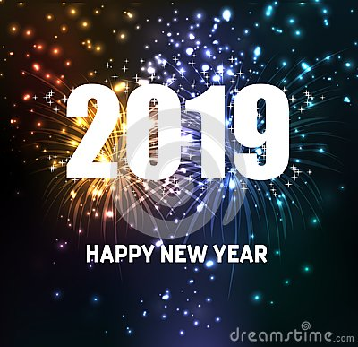 Free Fireworks For Happy New Year 2019 Stock Photo - 118926790