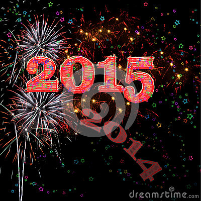 Free Fireworks Happy New Year 2015 Royalty Free Stock Image - 45416006