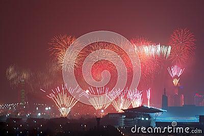 Fireworks highlight Beijing Olympics opening cerem Editorial Stock Image
