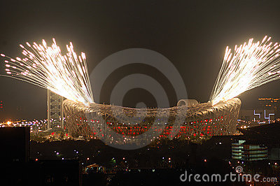 Fireworks highlight Beijing Olympics opening cerem Editorial Image