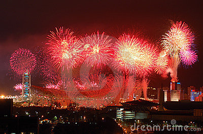 Fireworks highlight Beijing Olympics opening cerem Editorial Photography
