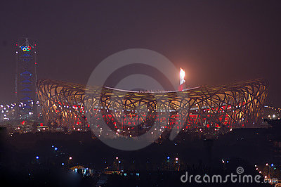 Fireworks highlight Beijing Olympics opening cerem Editorial Stock Photo
