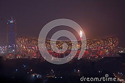 Fireworks highlight Beijing Olympics opening cerem Editorial Stock Photo