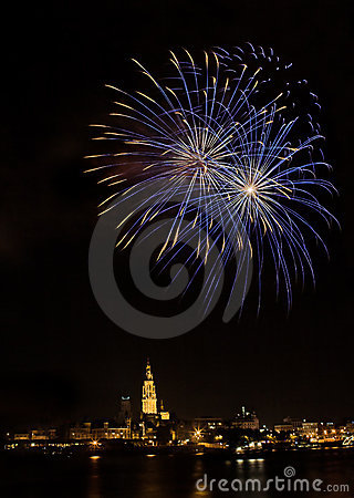 Free Fireworks In Antwerp Royalty Free Stock Photo - 1146455