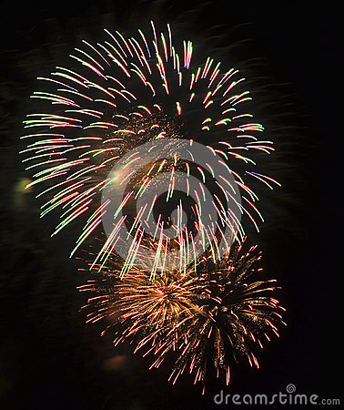Free Fireworks In Red, Green, And Gold Stock Photos - 30128693