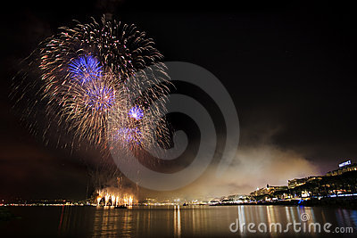 Fireworks on the mediterranean sea