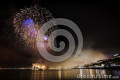 Fireworks on the mediterranean sea