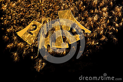 Fireworks 2014 New Years in elegant gold and black