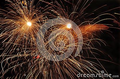 Fireworks at night.
