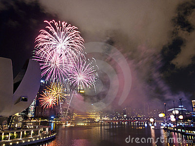 Fireworks At Night Over Singapore Marina Barrage
